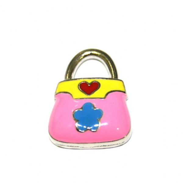 1 x 20*14mm rhodium plated pink handbag with little daisy enamel charm - SD03 - CHE1264